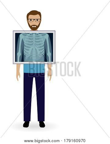 Adult man with x-ray chest vision. Radiography patient banner. Mockup of medical examination. Doctors occupation. Vector illustration.