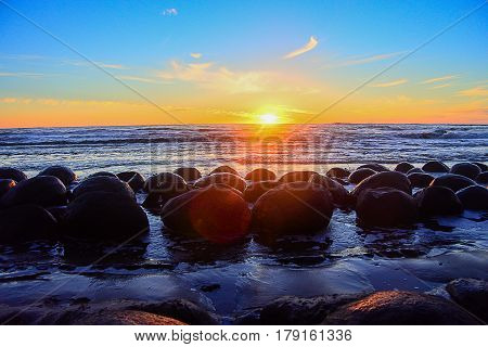 Coastal View of Bowling Ball Beach CA during Sunset at the ocean