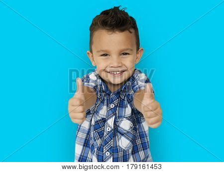 Little Boy Two Thumbs Up Concept