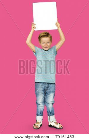 Caucasian Ethnicity Boy holding Placard poster