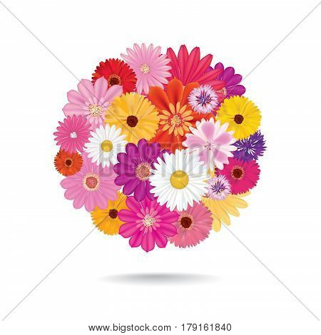Abstract circle flowers bouquet. Floral posy background. Holiday sign