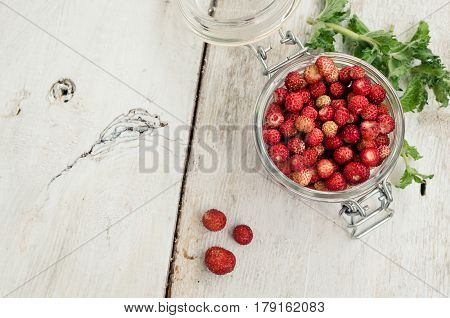 Wild strawberry in glass jar with green mint leaves on white rustic wooden background with place for text. Sweet berry Fragaria for summer dessert. Healthy snack. Top view. Copy space.