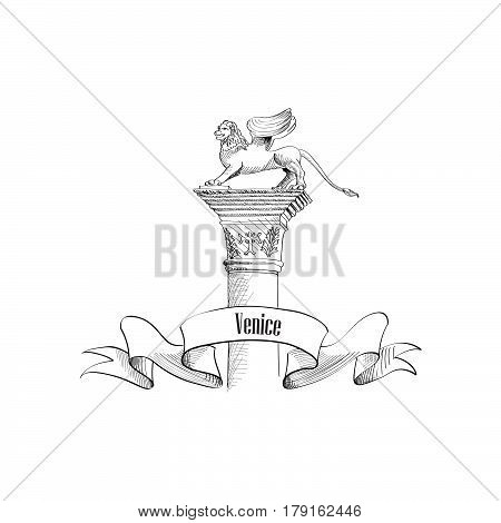 Venice citiy symbol Saint Marco on statue. Italian landmark label isolated over white background with copy space. Travel Italy sign.