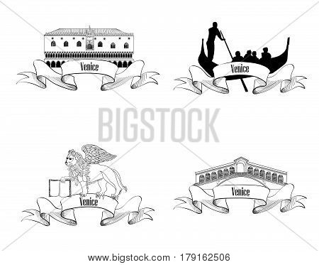Venice symbol set. Gondola Rialto Bridge Doge palace San Marco Lion. Venice landmarks. Travel Italy label sketch collection. City labels.