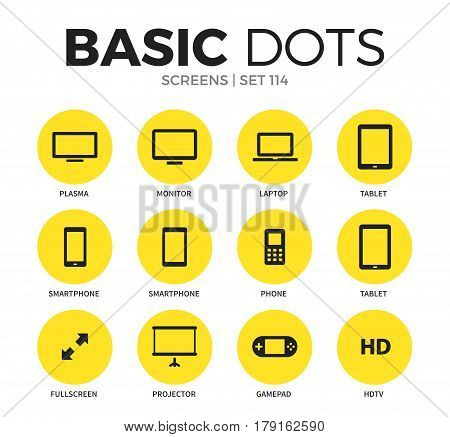 Screens flat icons set with monitor, laptop and gamepad isolated vector illustration on white