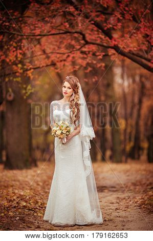 Beautiful bride in white dress in the outdoor