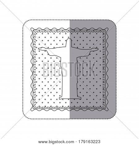 sticker monochrome contour frame of christ redeemer with background dotted vector illustration