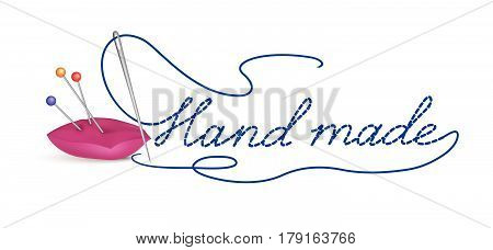 Needle with thread hand made. Sewing accessories an buttons on white background. header banner illustration.