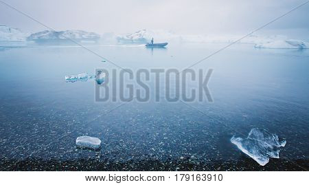 Beatiful Vibrant Picture Of Icelandic Glacier And Glacier Lagoon With Water And Ice In Cold Blue Ton