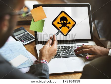 Business People Discussion Skull Sign Danger Attention on Laptop