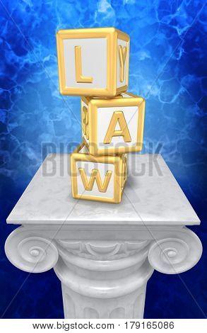 Law Child Blocks On A Column 3D Illustration