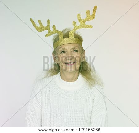Senior Woman Wear Paper Antler Cheerful Studio Portrait