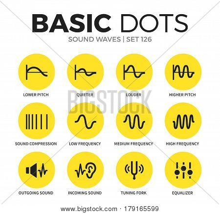Sound waves flat icons set with lower pitch, louder and tuning fork isolated vector illustration on white