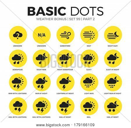 Weather bonus flat icons set with downpour, sleet, hail at night and sandstorm isolated vector illustration on white