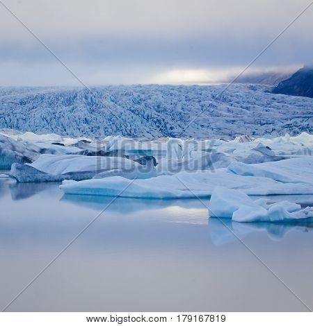 Beautiful Cold View Of Icelandic Glacier Vatnajokull, Iceland