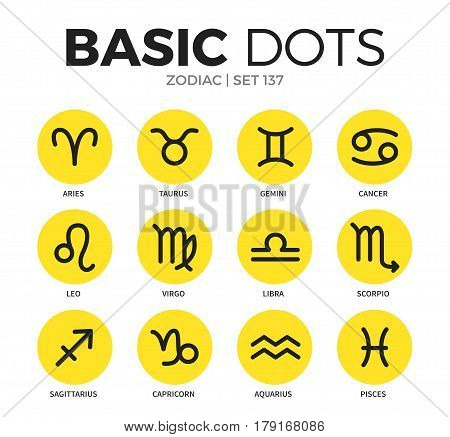 Zodiac flat icons set with taurus, aries and libra isolated vector illustration on white
