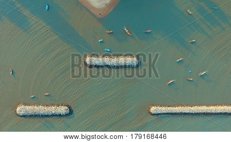 aerial view of fishery boat floating over sea beach at klong warn prachuap khirikhan southern of thailand