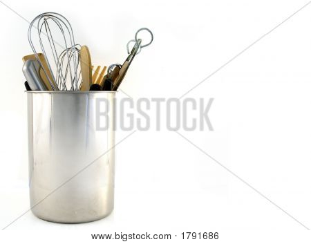 Kitchen Utensils Over White With Room For Text