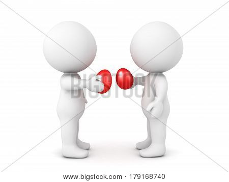 Two 3D characters smashing red easter eggs in Christian Orthodox tradition
