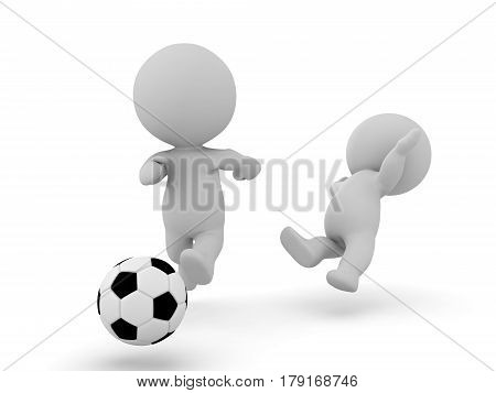 3D Characters playing football soccer and one gets tackled