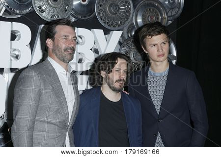 LAS VEGAS - MAR 27:  Jon Hamm, Edgar Wright, Ansel Elgort at the Sony CinemaCon Photocall at the Caesars Palace on March 27, 2017 in Las Vegas, NV