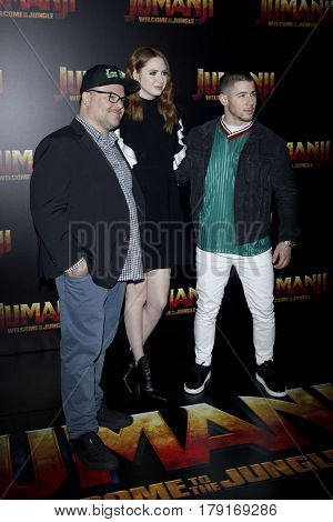 LAS VEGAS - MAR 27:  Jack Black, Karen Gillan, Nick Jonas at the Sony CinemaCon Photocall at the Caesars Palace on March 27, 2017 in Las Vegas, NV