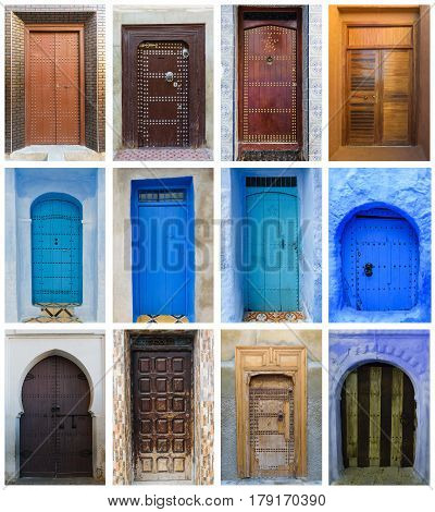 Collage of 12 colorful doors in Morocco with a lot of details and a nice patina.