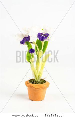 ORCHID Flower Plant in Pot Dollhouse Miniatures Garden