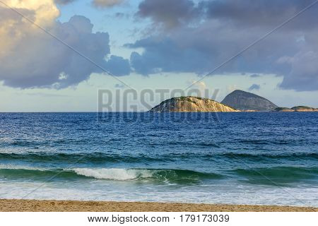 View of Cagarras islands in front off Ipanema beach in Rio de Janeiro