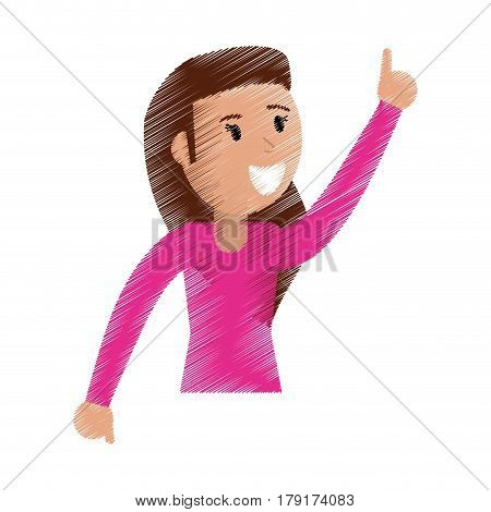 drawing funny girl dance happiness vector illustration eps 10