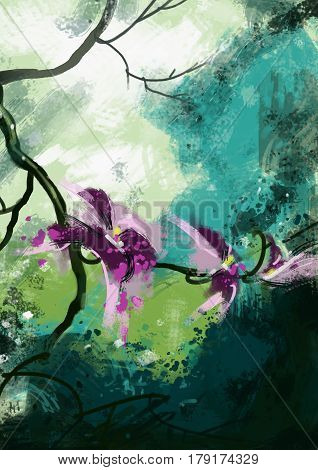 digital Painting illustration. Bouquet of orchids Purple watercolor style
