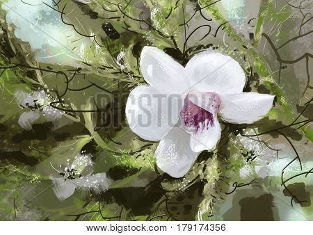 digital Painting illustration. White orchids. Depending on the tree. Watercolor style
