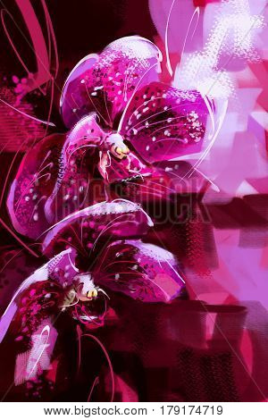 painting Orchid purple on the trees in the garden - Stock Image