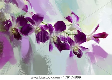 digital painting purple orchid Style Oil.