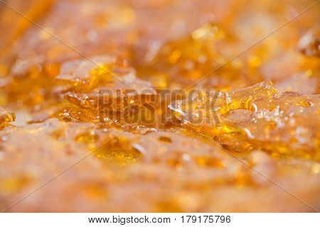 Macro detail of cannabis oil concentrate aka shatter used by medical marijuana patients