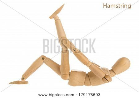 demonstration of wood manikin in hamstring stretch pose on white background. poster