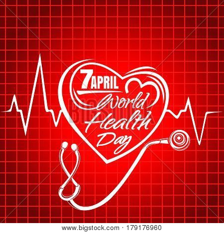 World Health Day lettering. Concept text design with heart, cardiogram and stethoscope. Greeting card for Health Day. Vector illustration