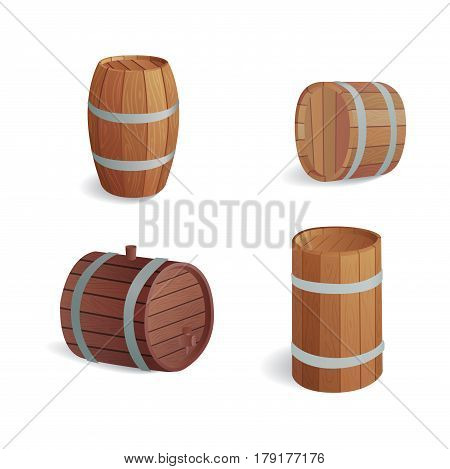 Wooden barrel vintage old style oak storage container and brown isolated retro liquid beverage object fermenting distillery cargo drum lager vector illustration. Dark aged vine hoop beer cask drink.