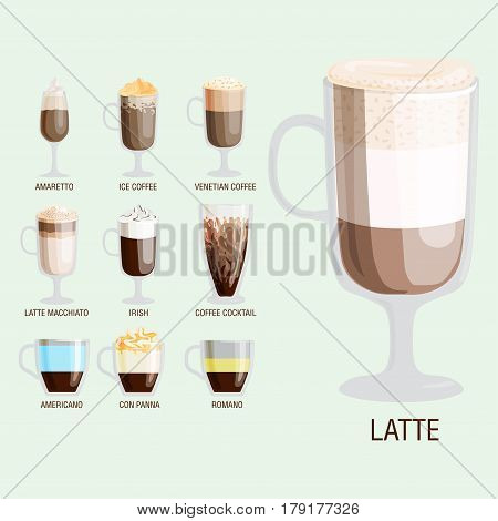 Set of different transparent cups of coffee types mug with foam beverage and breakfast morning sign tasty aromatic glass assortment vector illustration. Roasted refreshment various caffeine aroma.