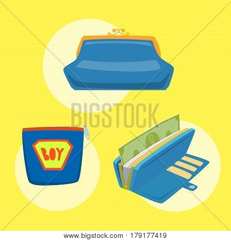 Purse blue wallet with money vector ico for shopping buy business financial payment bag and accessory object trendy cash wealth vector illustration. Female elegant trendy consumerism pocket.