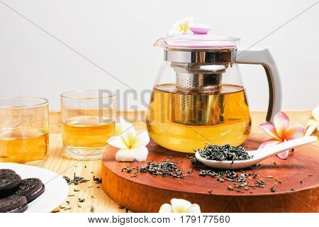 Green Tea In Glass Teapot And Cup