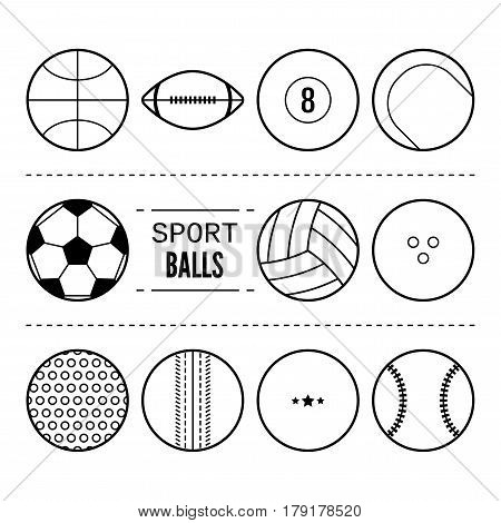 Sports balls for football, basketball, tennis. Linear black and white icons of equipment. Vector illustration