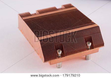 Used Copper Heat Sink For Cooling The Microprocessor Of The Computer Board. Radiator Plates In Large