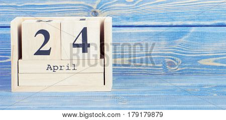 Vintage Photo, April 24Th. Date Of 24 April On Wooden Cube Calendar