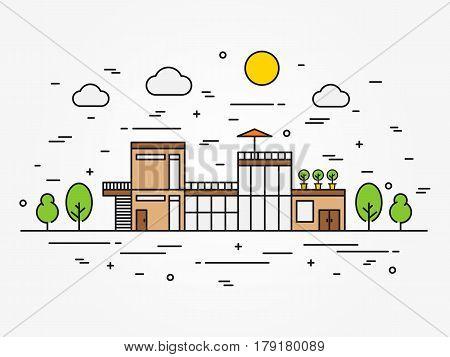 House architecture outline vector illustration. Exterior house architecture line art concept. Cottage mansion landscape linear graphic design. Colorful house building.