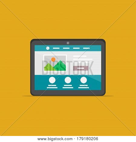 Landing page tablet isolated vector illustration. Responsive adaptive web design technology creative concept. Friendly user interface landing page graphic design.
