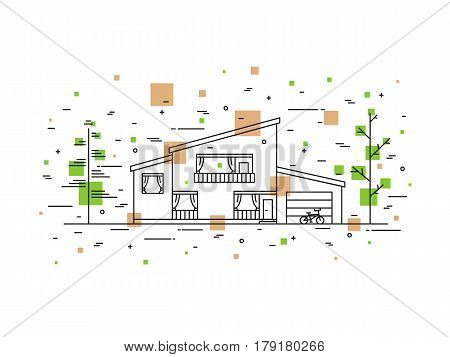 Modern urban mansion cottage outline vector illustration. House exterior landscape linear concept. Exterior architecture line art graphic design.