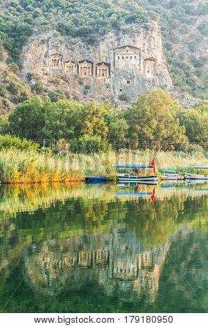 Kaunian rock tombs from Dalyan Ortaca Turkey