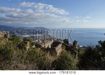 Seaview From Ancient Syedra City Of Alanya Province Of Turkey