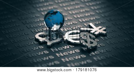 Main currency symbols and glass globe over a dark background where it is written the word News. 3D illustration. Concept of global finance and market informations.